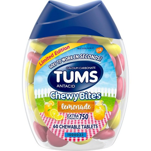 Tums Chewy Bites Lemonade Extra Strength Chewable Antacid for Heartburn - 60ct - image 1 of 4