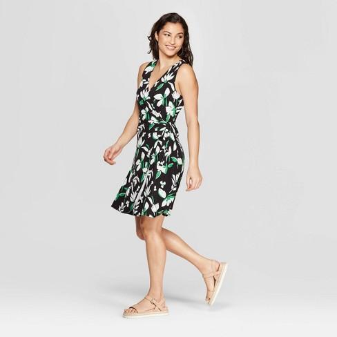 163d9b715a1e Women s Floral Print Sleeveless V-Neck Wrap Dress - A New Day™ Black ...