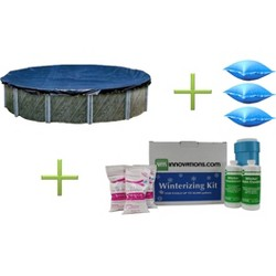 Swimline 28' Round Pool Cover + 3) 4'x4' Air Closing Pillows + Winterizing Kit