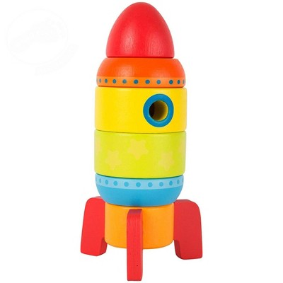 Small Foot Wooden Toys Colorful Rocket Shaped Stacking Toys