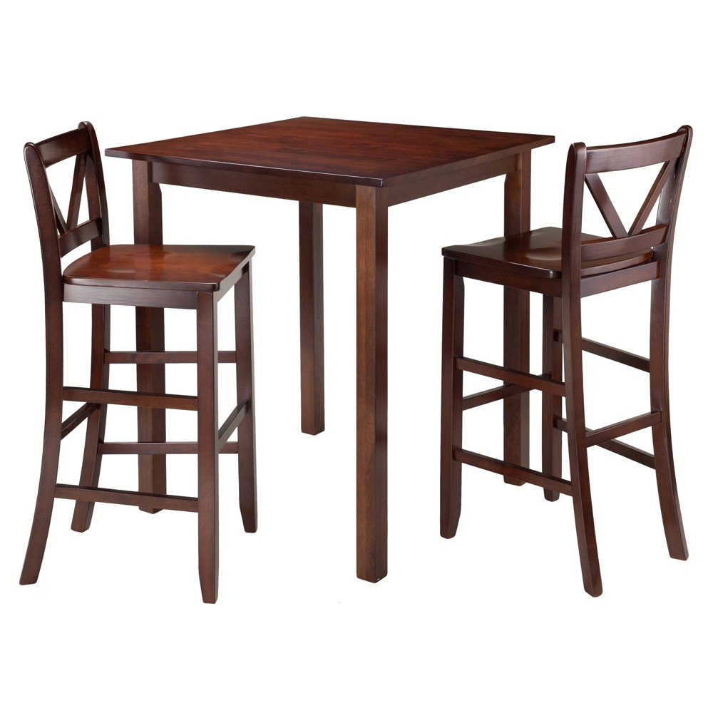 3pc Parkland Counter Height Dining Sets Wood Walnut Winsome