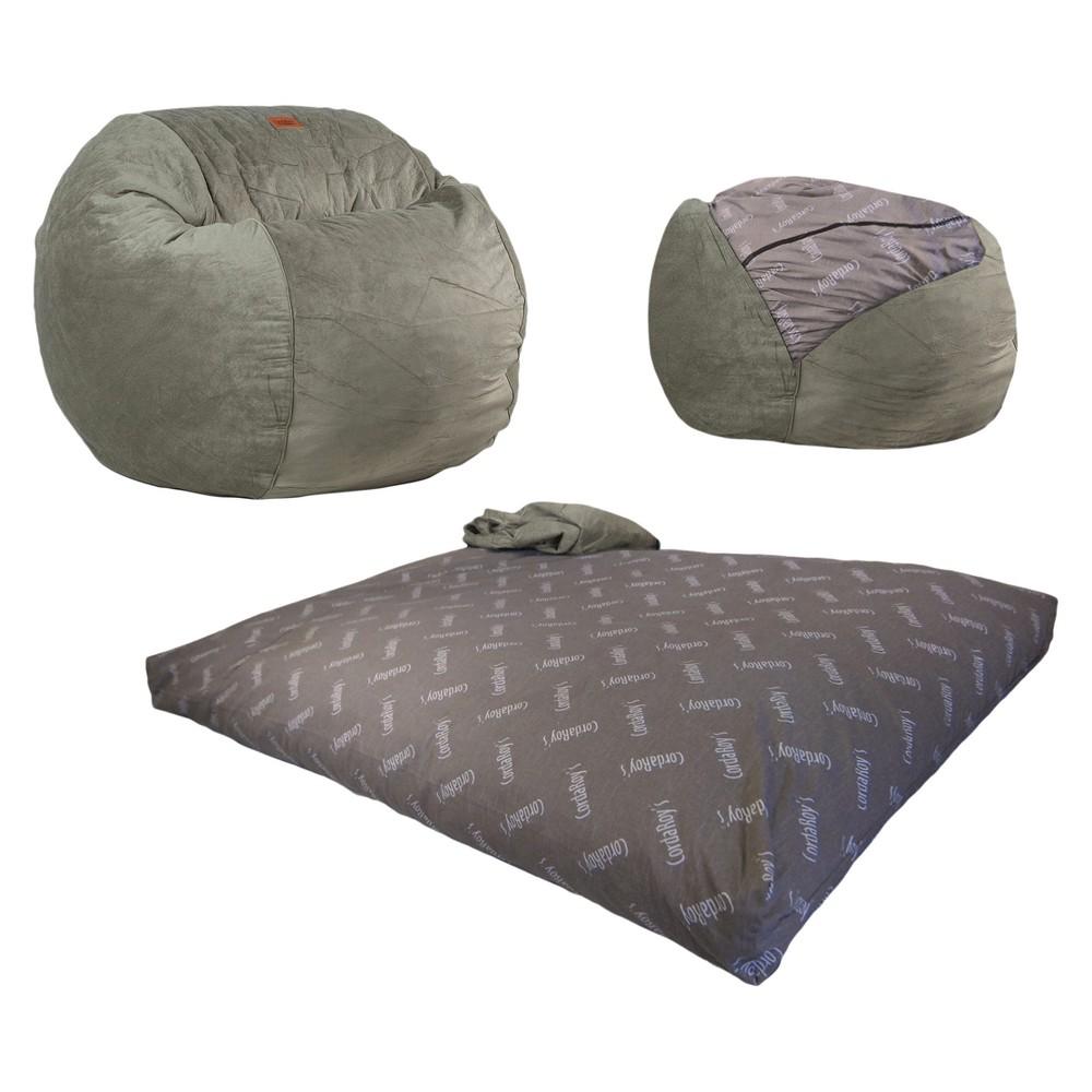 Cordaroys Sage (Green) Plush Velour Convertible Bean Bag Chair - Queen