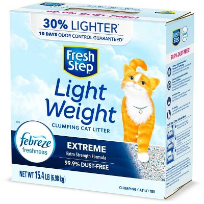 Fresh Step Lightweight Extreme Scented Litter with the Power of Febreze Clumping Cat Litter- 15.4lb