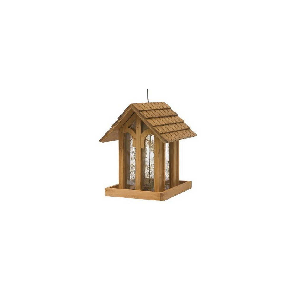 "Image of ""12"""" Mountain Chapel Wild Bird Wood Feeder - Perky-Pet, Brown"""