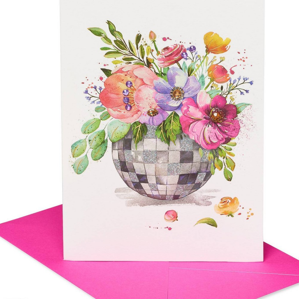 Image of Disco Ball Flowers Print Greeting Card