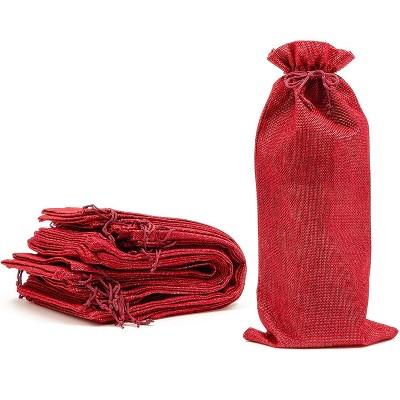Juvale Burlap Wine Bags 12 Pack Jute Wine Gift Bags - Red