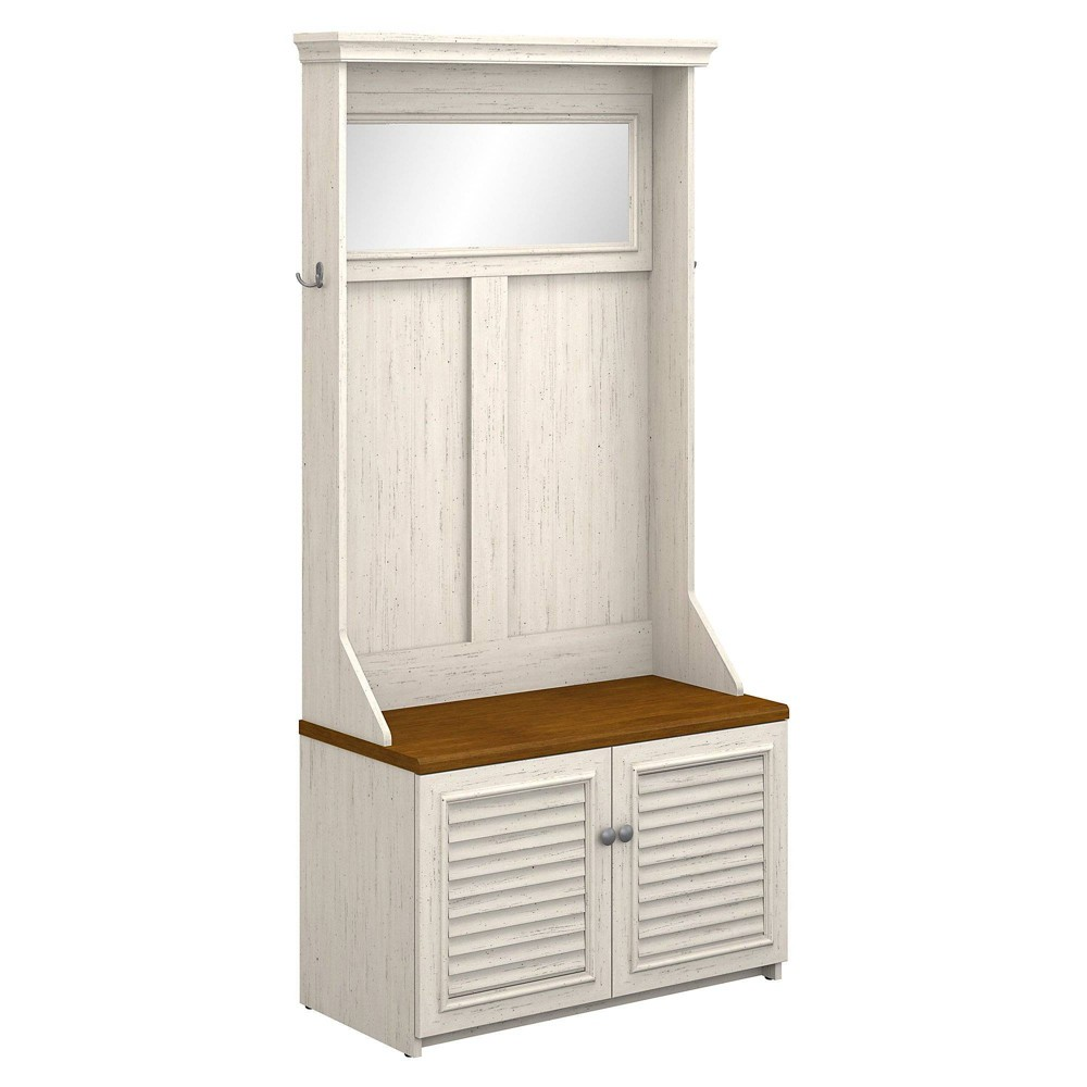 Fairview Hall Tree with Storage Bench Antique White - Bush Furniture