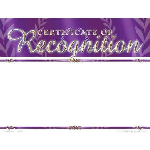 School Smart Certificate of Recognition  Award - Blank Item, 11 x 8-1/2 inches, pk of 25 - image 1 of 1