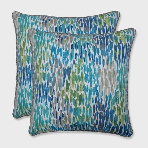 "2pk 18.5"" Make it Rain Outdoor Throw Pillow Cerulean Blue - Pillow Perfect - image 1 of 1"