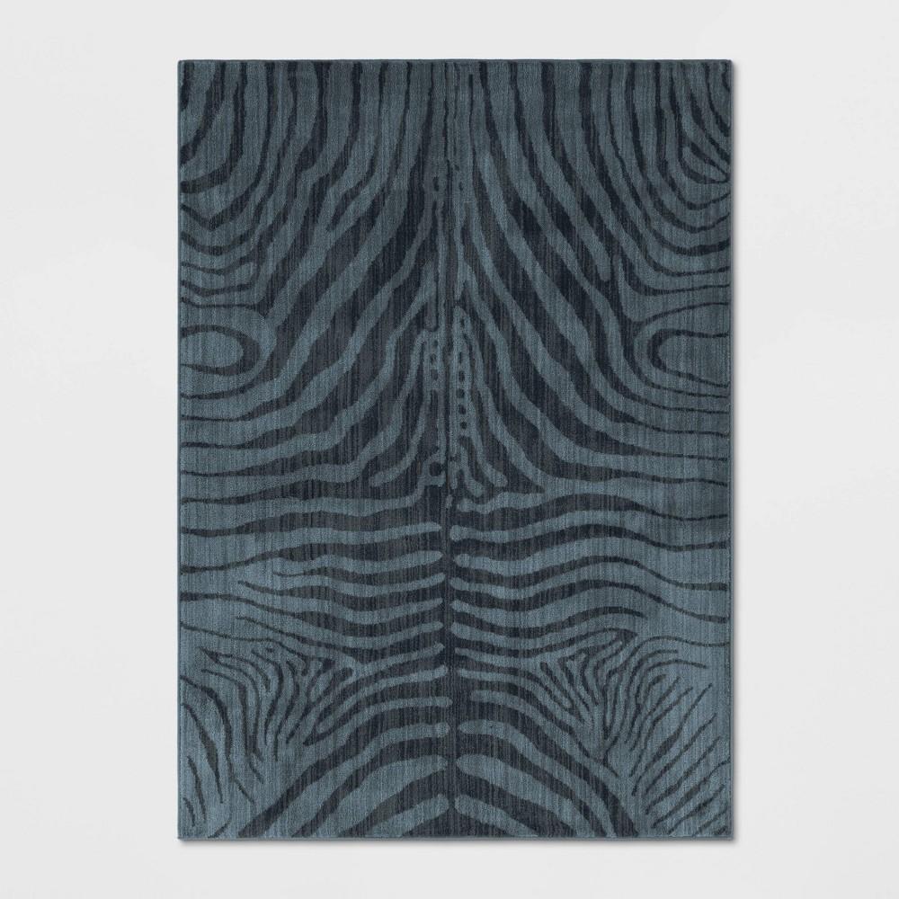 Zebra Stripe Woven Area Rug Blue