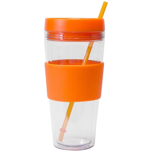 be66e148179 Cool Gear Plastic Tumbler With Lid And Straw 24oz - Orange