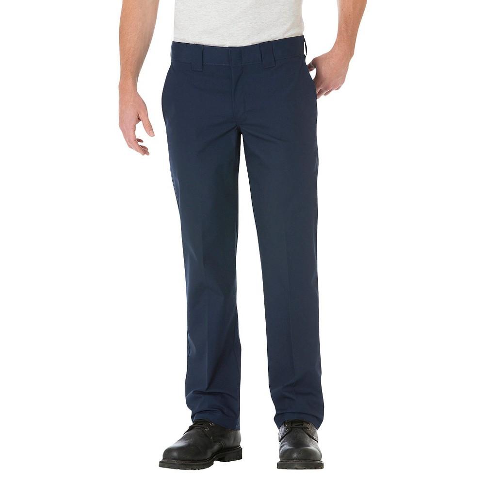 Dickies Men's Slim Straight Fit Lightweight Poplin Pants- Dark Navy 38x30