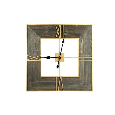 "30"" Square Wood Finish and Trim Wall Clock Gold  - 3R Studios"