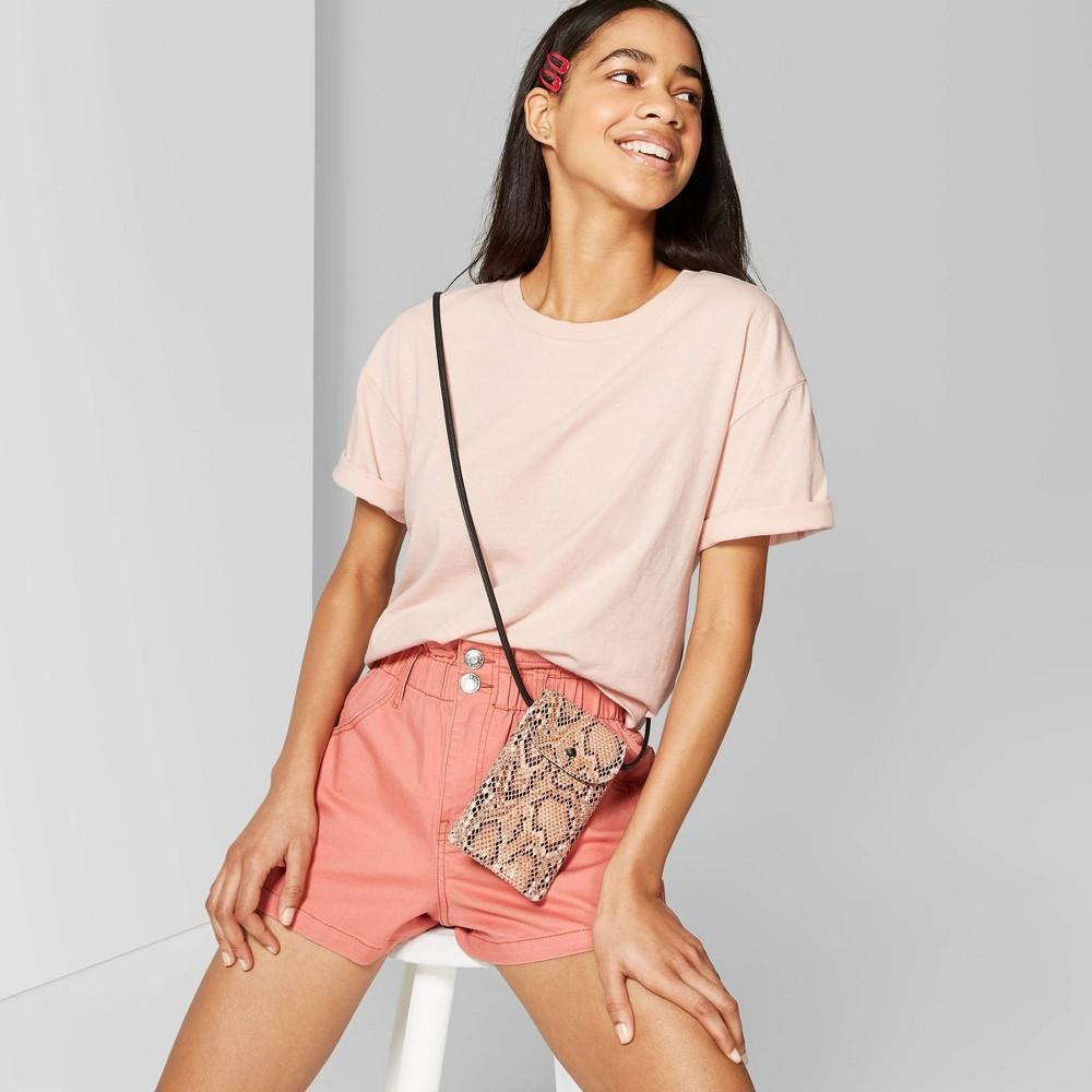 e400ade7c6 Womens Short Sleeve Crewneck Oversized Boxy T Shirt Wild Fable Peach Pink M