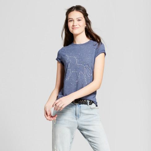 9e78e9965f7 Women s Galaxy Unicorn Short Sleeve Crew Neck T-shirt - Zoe+Liv (Juniors )  - Navy