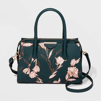 Floral Print Zip Closure Satchel Handbag - A New Day™ Dark Forest