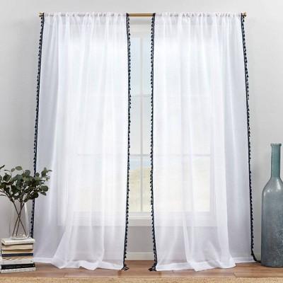 Set of 2 Tassels Embellished Sheer Rod Pocket Curtain Panels Indigo - Exclusive Home