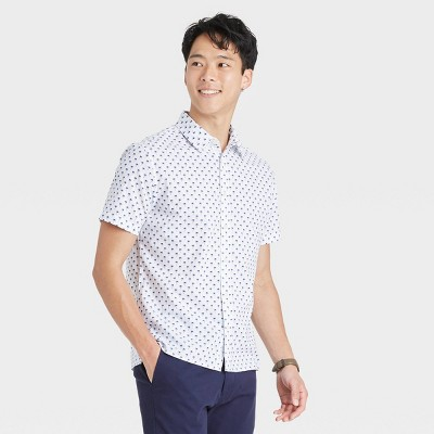 Men's Regular Fit Textured Short Sleeve Button-Down Shirt - Goodfellow & Co™