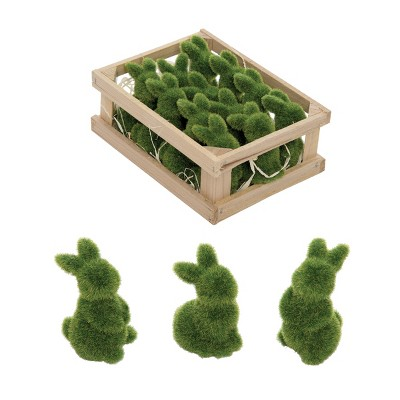 Gallerie II Green Moss Easter Bunnies Figurines in Crate Set of 12