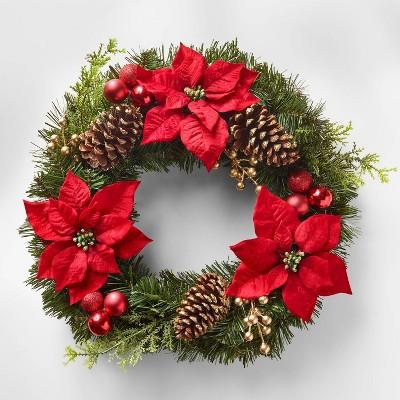 23in Unlit Poinsettia Berry Pinecone Artificial Wreath - Wondershop™