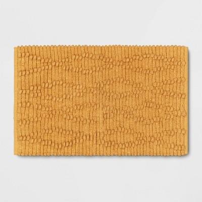 "20""x32"" Chenille Multi Textured Bath Rug Mustard - Threshold™"