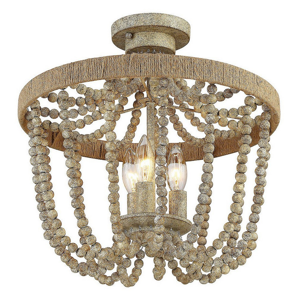 Image of Ceiling Lights Semi-Flush Mount Natural Wood with Rope - Aurora Lighting