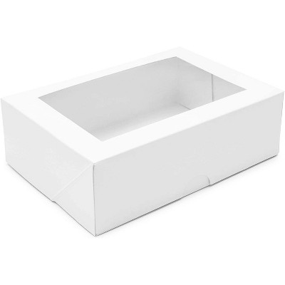 """15-Pack White Cupcake Box with Window, Pastry Bakery Box Carrier Container for Cake Dessert Pie Cookie Gift Party 8""""x5.75""""x2.5"""""""