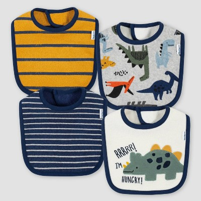 Gerber Baby Boys' 4pk Dino Bib - Gold/Blue