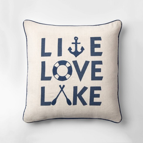 Live Love Lake Square Throw Pillow Neutral/Blue - Threshold™ - image 1 of 3