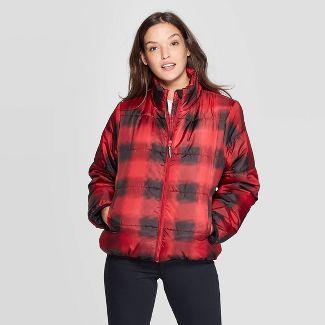 Women's Plaid Puffer Jacket - Universal Thread™ Red XXL