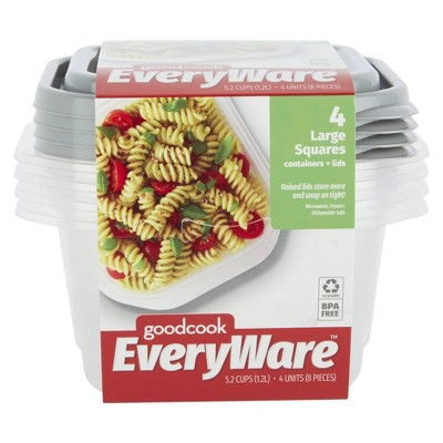 GoodCook EveryWare Square 5.2 Cups Food Storage Container - 4pk