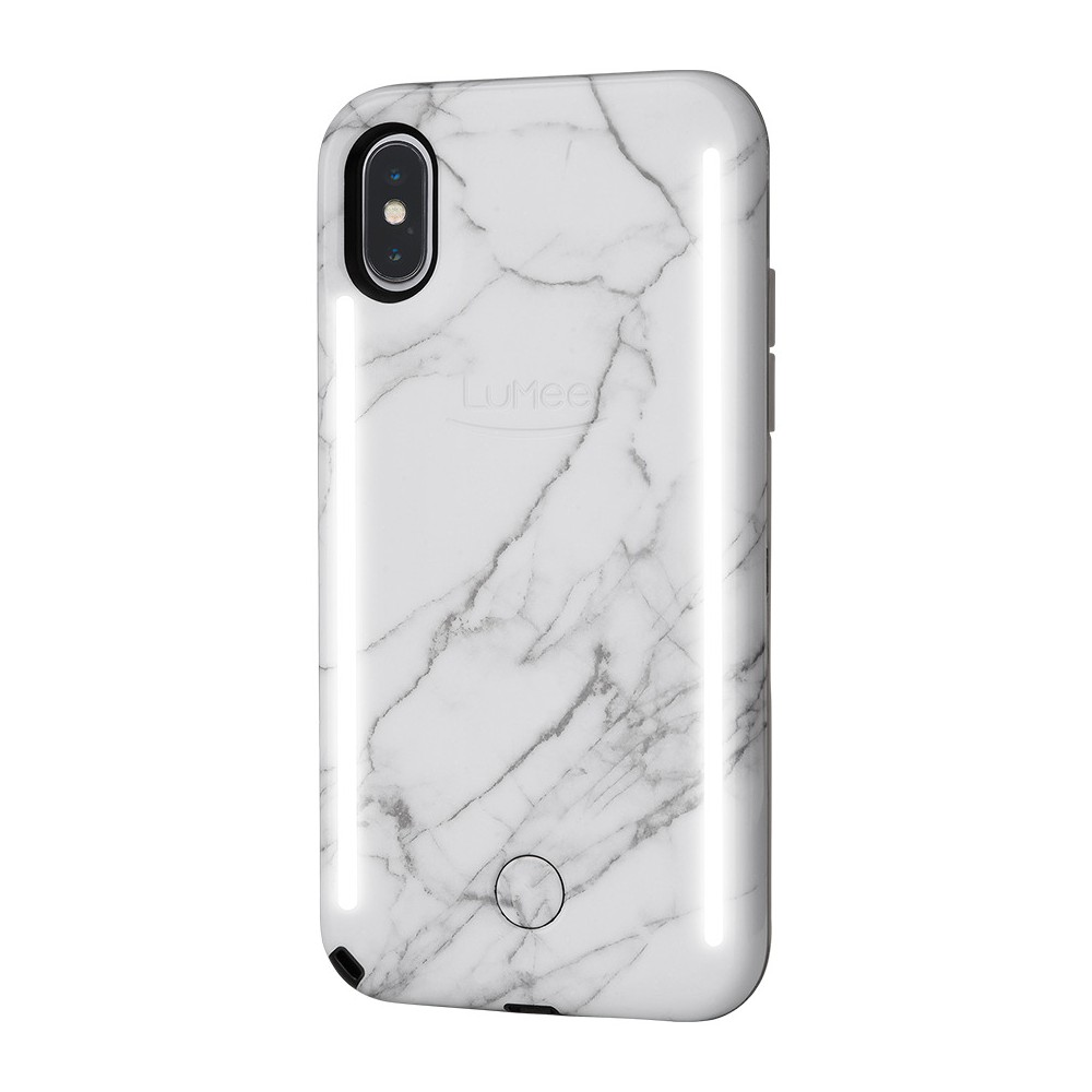 LuMee Duo Apple iPhone X Case - White Marble, White Black