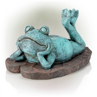 """Alpine 9"""" Magnesium Oxide Frog Laying Down Statue"""