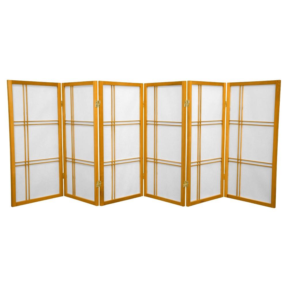 Image of 3 ft. Tall Double Cross Shoji Screen - Honey (6 Panels) - Oriental Furniture, Pumpkin