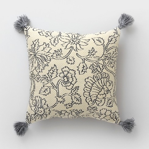 Square Vintage Floral Outdoor Pillow Cream - Threshold™ - image 1 of 1