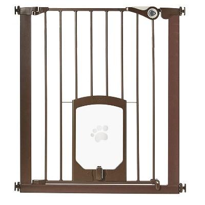 MyPet Tall Pet Gate Passage Walk Through Gate with Door, Bronze