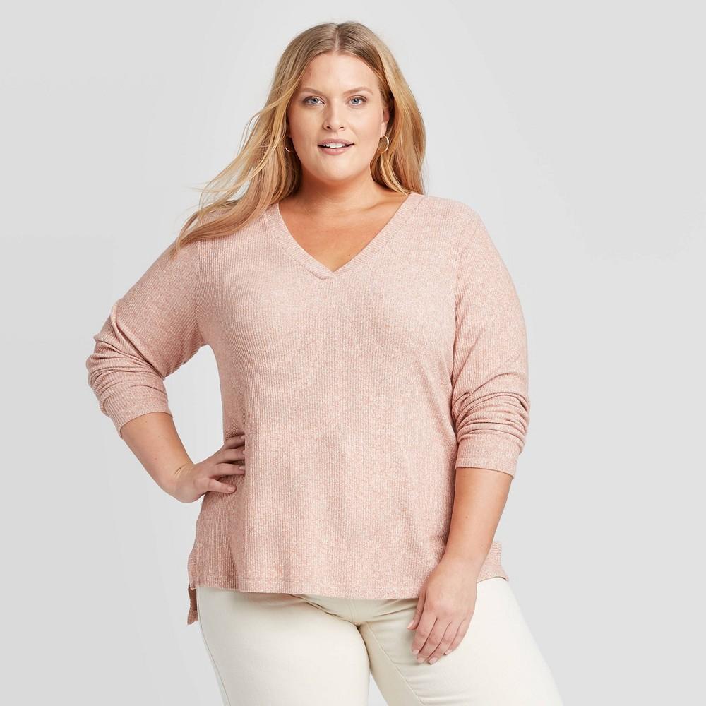 Women's Plus Size Long Sleeve V Neck Rib Knit Top Ava & Viv Mauve X, Women's, Pink