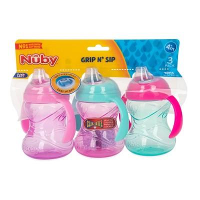 Nuby 3pk Clik-It Handle Cup - Purple/Pink/Aqua - 8oz