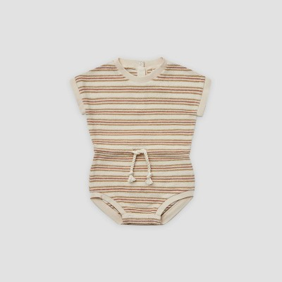 Q by Quincy Mae Baby Girls' Striped Retro Terry Romper - Off-White 6-12M