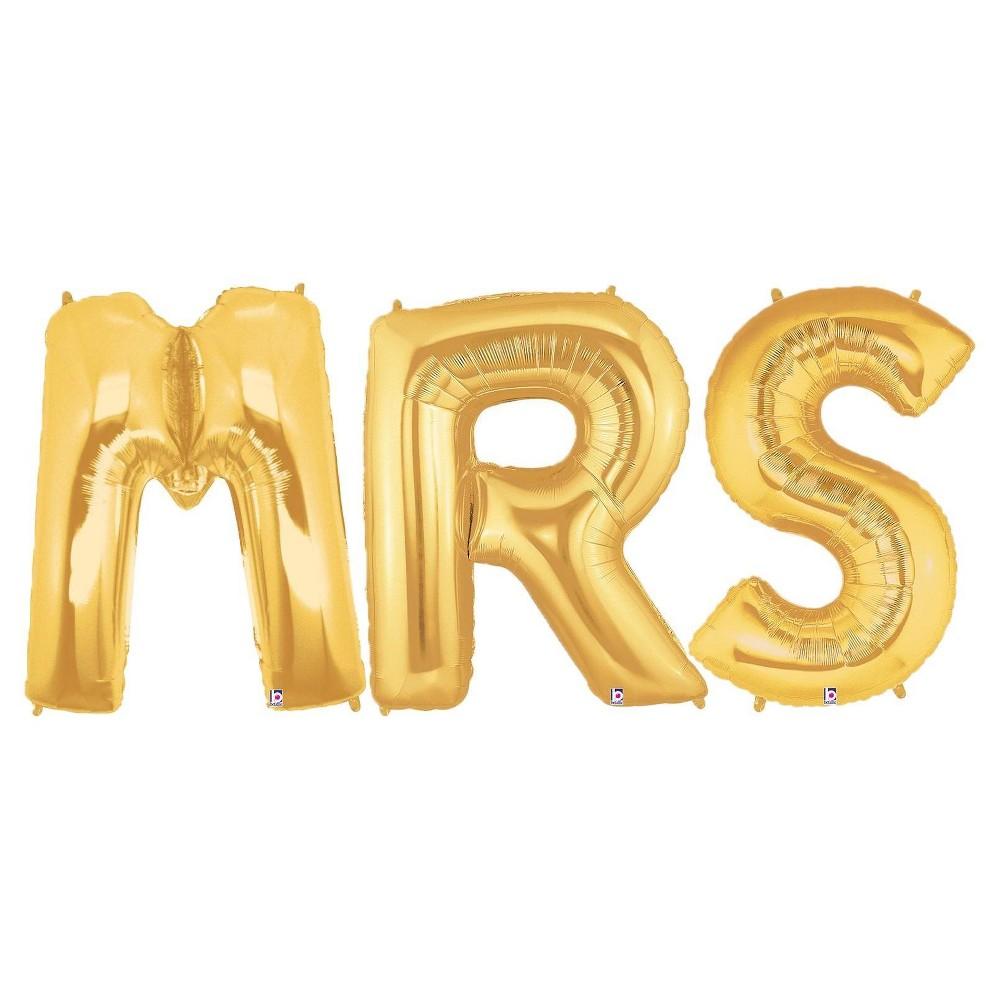 Jumbo Gold Foil Balloons - Mrs