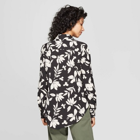 b2de40f9fbc08 Women s Floral Print Long Sleeve Collared Crepe Blouse - A New Day ...