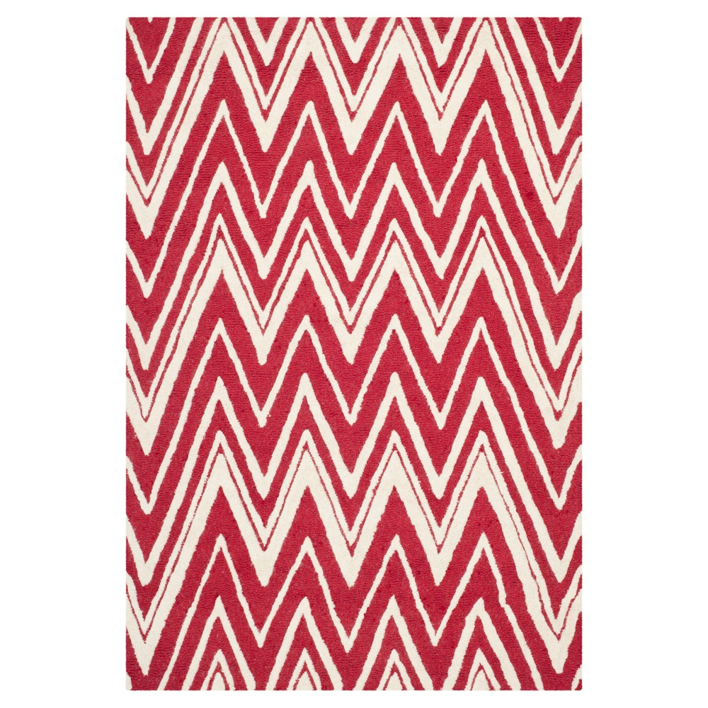 Burton Textured Rug - Red / Ivory (3' X 5') - Safavieh, Red/Ivory