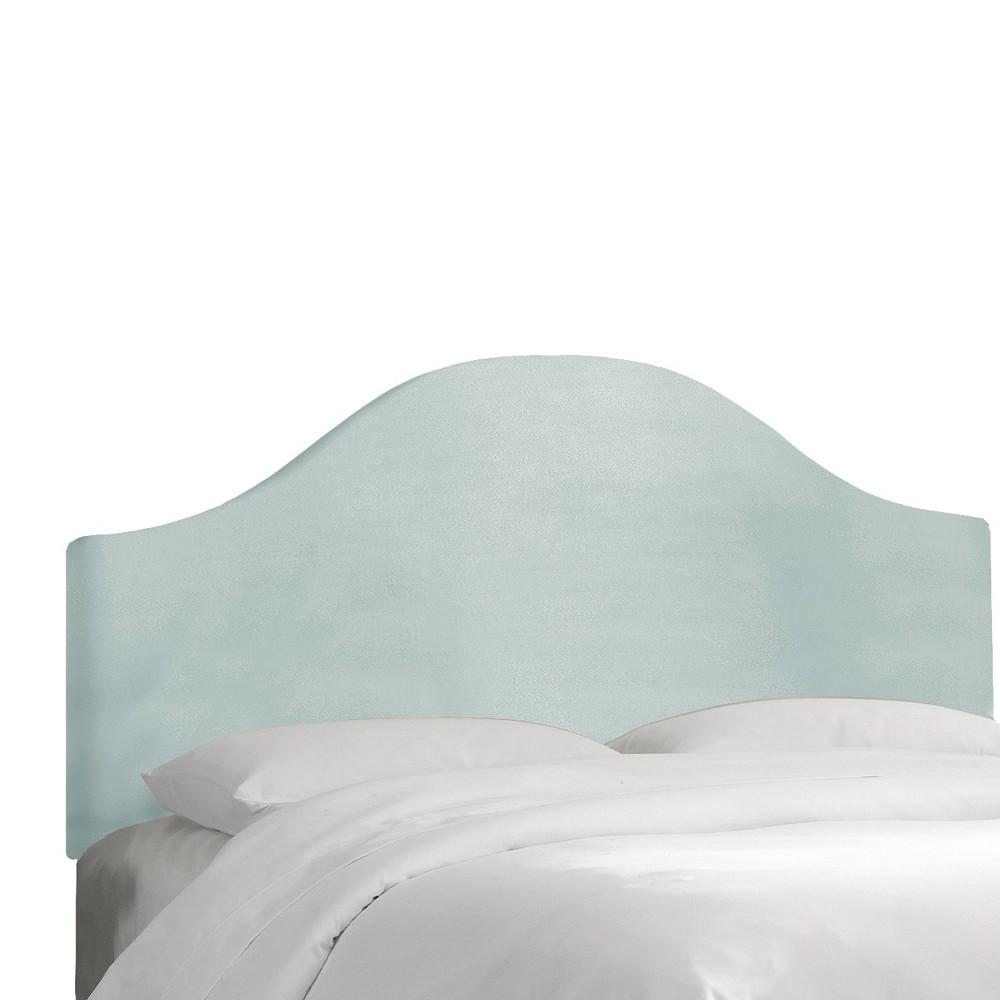 Custom Upholstered Curved Headboard - Velvet Pool - California King - Skyline Furniture
