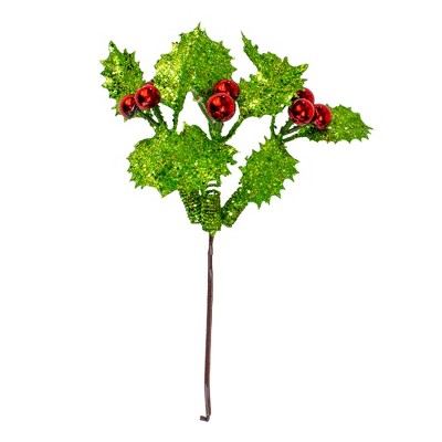 """Darice 10.5"""" Green and Red Holly Berry With Glitter Christmas Pick"""