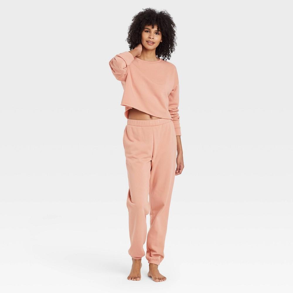 Women 39 S Cropped Fleece Lounge Sweatshirt Colsie 8482 Brown S