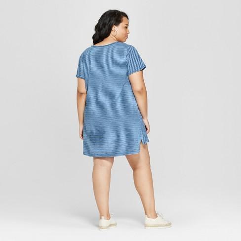 Women s Plus Size Striped Short Sleeve Scoop Neck T-Shirt Dress - Universal  Thread™ Bleach Indigo   Target fb48ce823