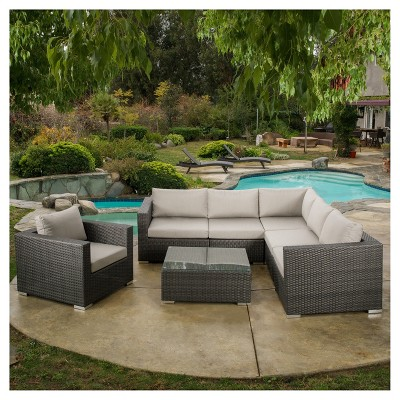 Santa Rosa 7pc Wicker Patio Seating Sectional Set With Sunbrella Cushions    Christopher Knight Home : Target