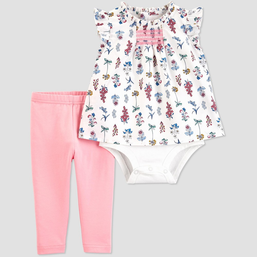 Baby Girls' 2pc Floral Top and Leggings Set - Just One You made by carter's White/Pink 9M
