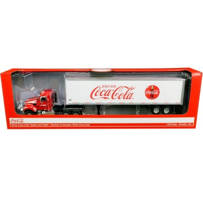 """Truck Tractor with 53' Trailer """"Drink Coca-Cola"""" Red and White 1/50 Diecast Model by Motorcity Classics"""
