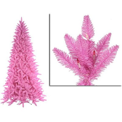 Vickerman 9' Pre-Lit Artificial Christmas Tree Slim Ashley Spruce - Clear/Pink Lights